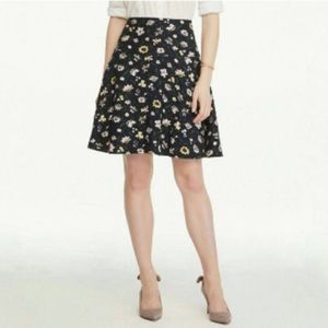 Ann Taylor Factory A-line navy floral skirt